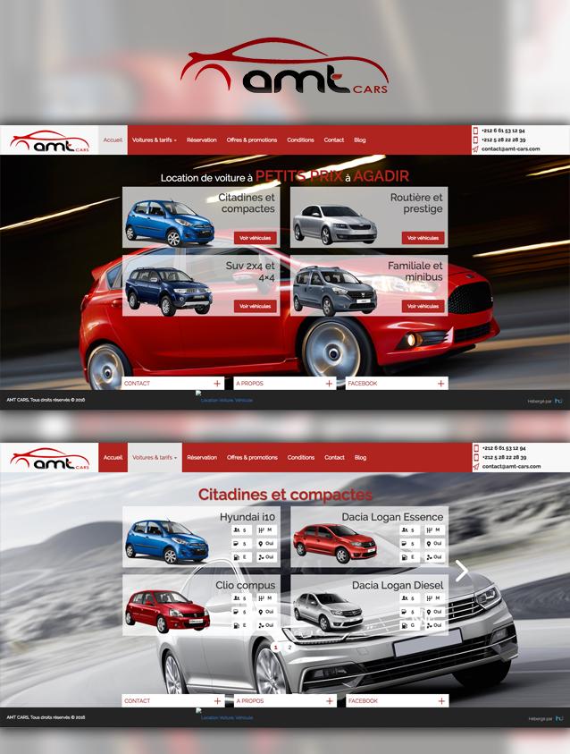 site web société AMT Cars -  création et hébergement web au maroc heberdomaine