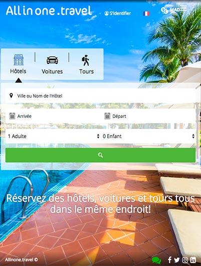 site web société Allinone Travel -  création et hébergement web au maroc heberdomaine