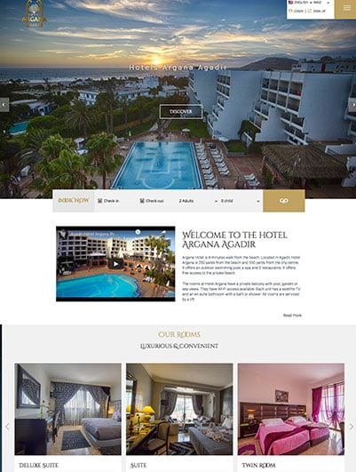 site web Argana Hotel maroc creation et hebergement web maroc heberdomaine